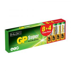 Batería AA 1.5V Super Alkalina 8+4 Piezas Marca GP