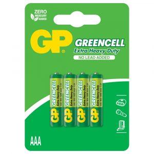Batería AAA 1.5V Greencell Carbon Cartón 4 piezas Marca GP