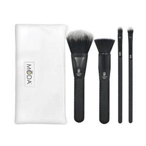Kit de Brochas para maquillaje de 5 piezas estilo unicornio color morado marca Moda Pro