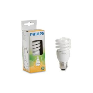 Foco eco twister luz calida 15W marca PHILIPS