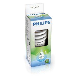 Foco eco twister luz blanca 15W/60W marca PHILIPS