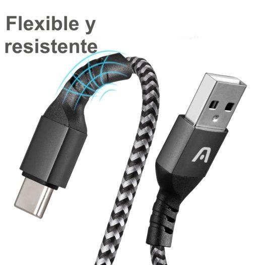 Cable de carga Tipo C 2.0 Nylon Trenzado Blanco Argom