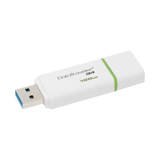 Memoria USB Kingston DT G4 de 128GB Color Blanco con Verde