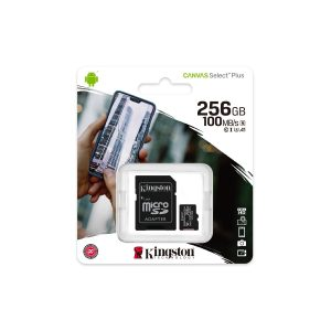 Tarjeta MicroSD de 256GB Canvas Select Plus Clase 10 marca Kingston para Android