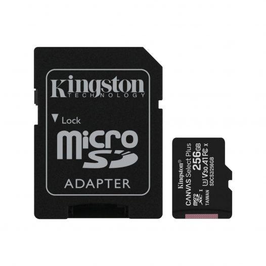 Tarjeta MicroSD de 256GB Canvas Select Plus Clase 10 marca Kingston para Android