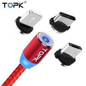 Cable Magnético de Carga 3 puertos (Intercambiables) de 2 Metros marca Topk color Rojo