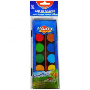 Acuarela 12 Colores Caja Plastica ProArte