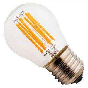 Bombilla de bulbo lente claro, base E27, 6 watts, temperatura de color 2700K (Cálida)