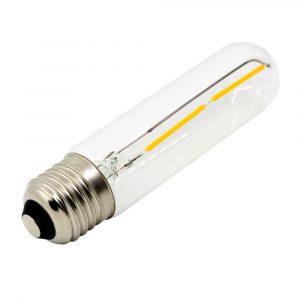 Bombilla cilíndrica T30 lente claro, base E27, 2 watts, temperatura de color 2700K, 30mm x 125mm (Cálida)