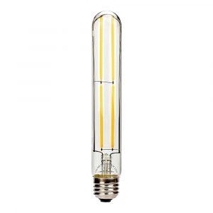 Bombilla cilindrica T30 lente claro, base E27, 4 watts, temperatura de color 2700K, 30mm x 185mm, filamento recto, dimerizable (Cálida)
