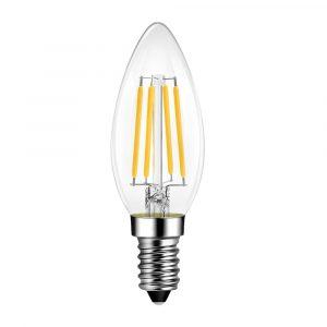Bombilla tipo velita lente ambar, base E12, 2 watts, temperatura de color 2700K (Cálida)