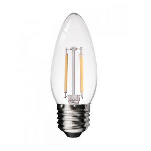 Bombilla tipo velita lente ambar, base E27, 2 watts, temperatura de color 2700K, dimerizable (Cálida)