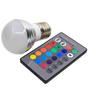 Bombilla de bulbo nevado, base E27, 3 watts, RGB con control de 24 botones para efectos