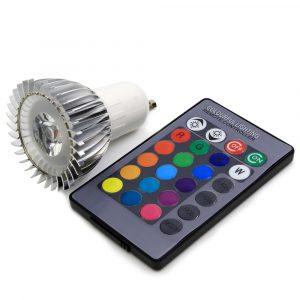 Bombilla ojo de buey MR16, 3 watts, RGB con control de 24 botones para efectos