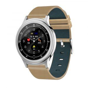 Reloj Inteligente Q28 pulsera Cuero Plata