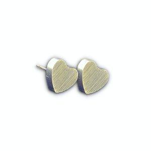 Aretes de Corazón de acero inoxidable color Plateado