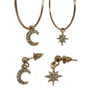 Set de argollas y aretes Luna y estrellas