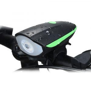 Linterna para bicicleta recargable con bocina Verde