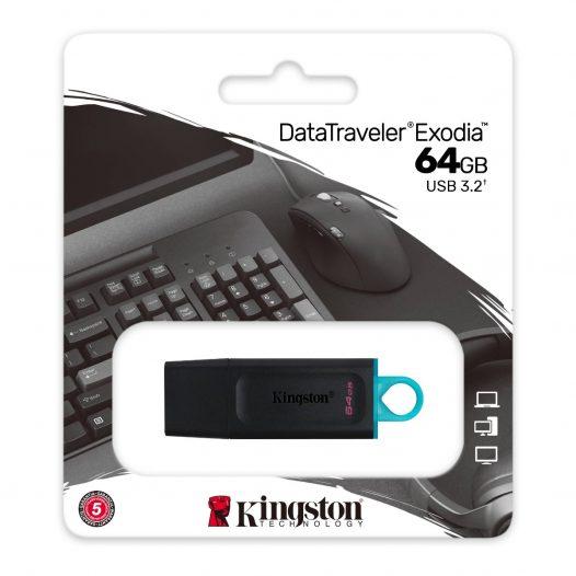Memoria USB de 64GB USB 3.2 Gen 1 Kingston Exodia