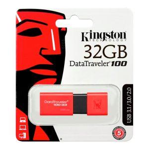 Memoria USB de 32GB Kingston USB 3.0 100 G3 Rojo