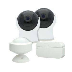 Smart Kit de seguridad: 2 cámaras, 1 sensor de puerta, 1 sensor de movimiento, WiFi