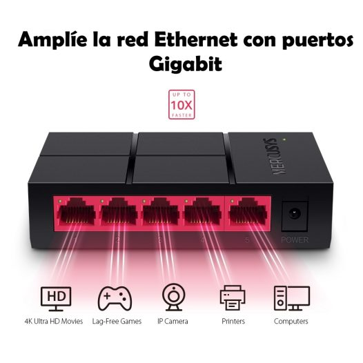Switch de red 5 puertos a 10/100/1000 Mbps Mercusys