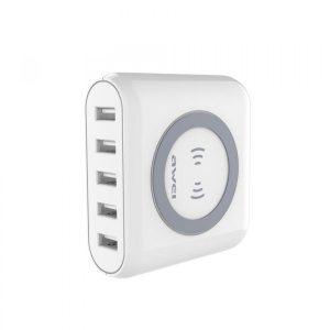 Cargador Inalámbrico con 5 Puertos USB 30W CW1 Blanco Awei