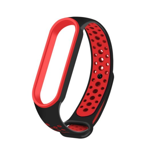 Pulsera Transpirable para Xiaomi Mi Band 5 Color Negro con rojo