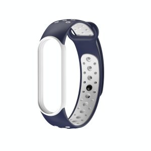 Pulsera Transpirable para Xiaomi Mi Band 5 color Azul Marino con Blanco