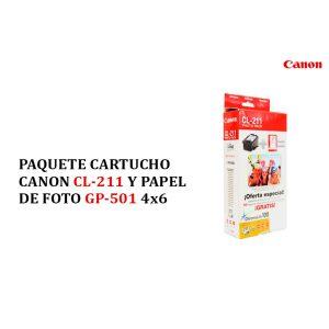 Paquete Cartucho Canon CL-211 y Papel fotográfico Gp-501 4*6
