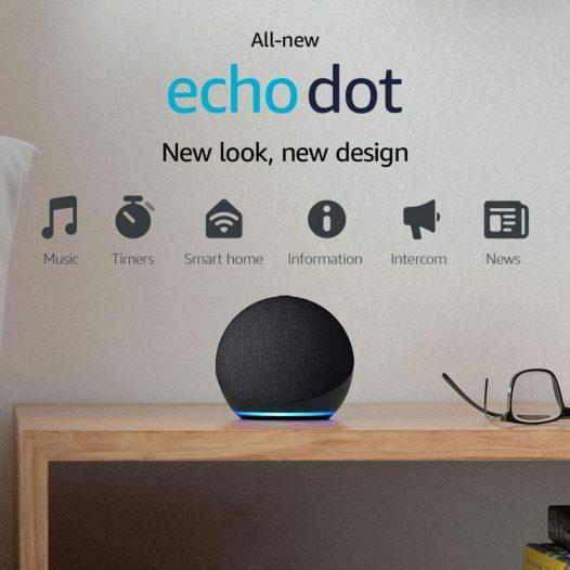 Echo Dot Bocina 4th Gen Inteligente Asistente Alexa Color Negro