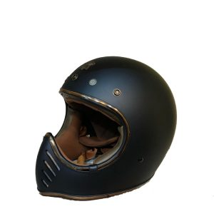 "Royal H01 Negro Matte Talla ""L"", Casco Café Racer Full Face"
