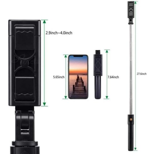 Palo Selfie Stick con Trípode Bluetooth K07 Negro