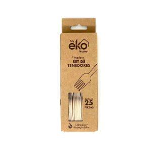 My Eko Home Tenedores De Madera (Caja De 25 unidades)