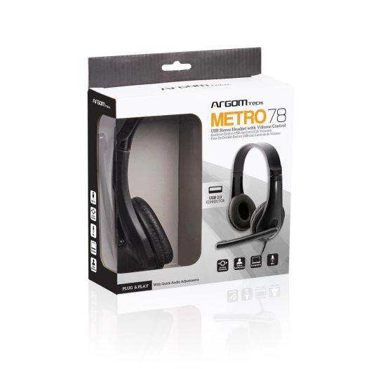 Argom  Metro78 Audífonos con Micrófono USB Negro