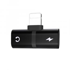 Adaptador para Iphone Lightning 2 en 1 Audifonos y Carga Negro