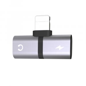 Adaptador para Iphone Lightning 2 en 1 Audifonos y Carga Plata