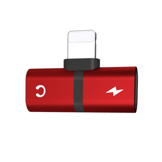 Adaptador para Iphone Lightning 2 en 1 Audifonos y Carga Rojo