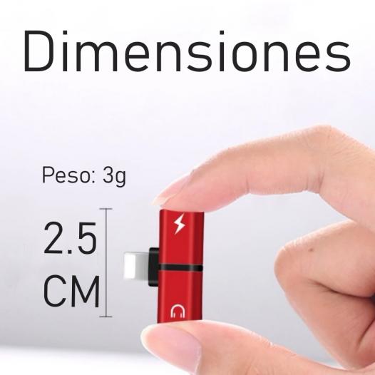 Adaptador para Iphone Lightning 2 en 1 Audifonos y Carga Rosado