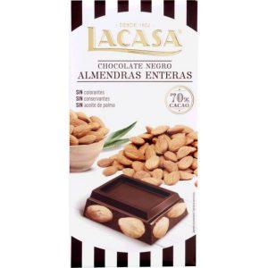 Lacasa tableta de chocolate negro 70% cacao con almendras enteras 200 gr