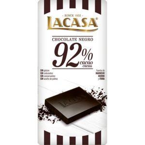 Lacasa tableta de chocolate negro 92% cacao 100 gr
