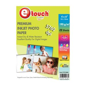 Etouch Papel Fotografico Glossy 4x6 20 Hojas 190 grs
