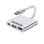 Magnavox MAC5519 Adaptador HDMI Tipo C Macho a HDMI/USB-C/USB 3.0